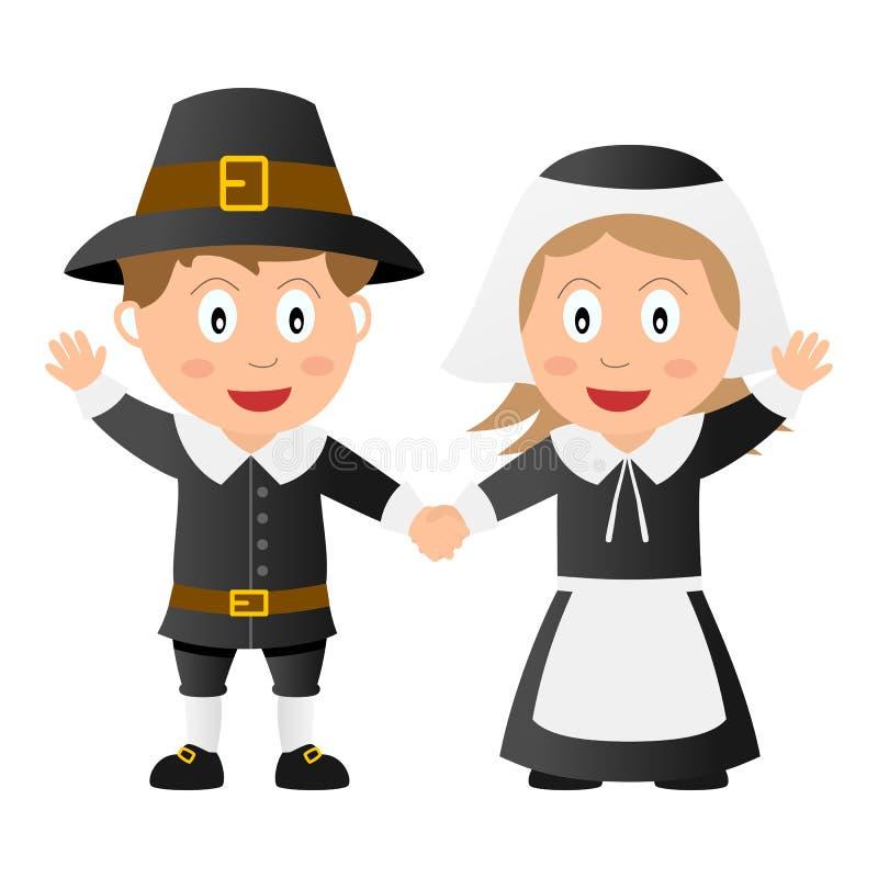 Thanksgiving Pilgrim Kids. Holding hands, isolated on white background. Eps file available vector illustration