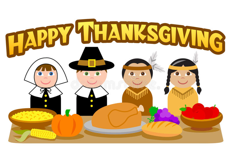 Thanksgiving Pilgrims and Indians/eps. Cute cartoon illustrations of kids in pilgrim and indian costumes with the headline Happy Thanksgiving