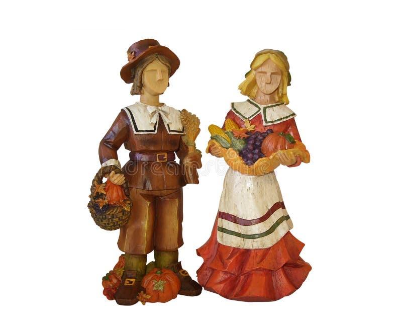 Thanksgiving pilgrims isolated on white royalty free illustration