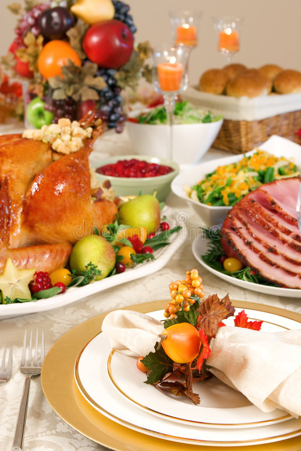 Thanksgiving place setting. Thanksgiving dinner with roast turkey stock image