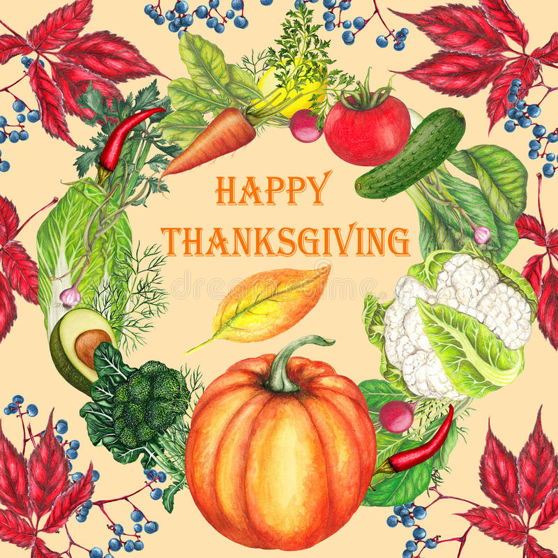 Thanksgiving postcard in vintage style. Thanksgiving postcard with hand drawn harvest royalty free illustration