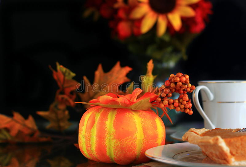 Thanksgiving pumpkin decoration stock image