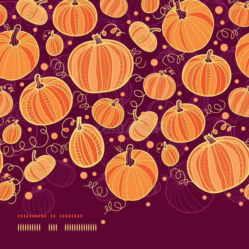 Thanksgiving pumpkins horizontal border seamless. Vector Thanksgiving pumpkins horizontal border seamless pattern background with hand drawn elements stock illustration