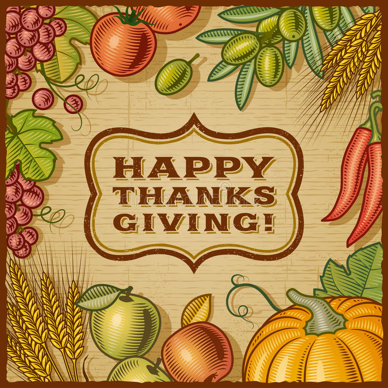 Thanksgiving Retro Card. In woodcut style. EPS10 vector illustration with clipping mask royalty free illustration