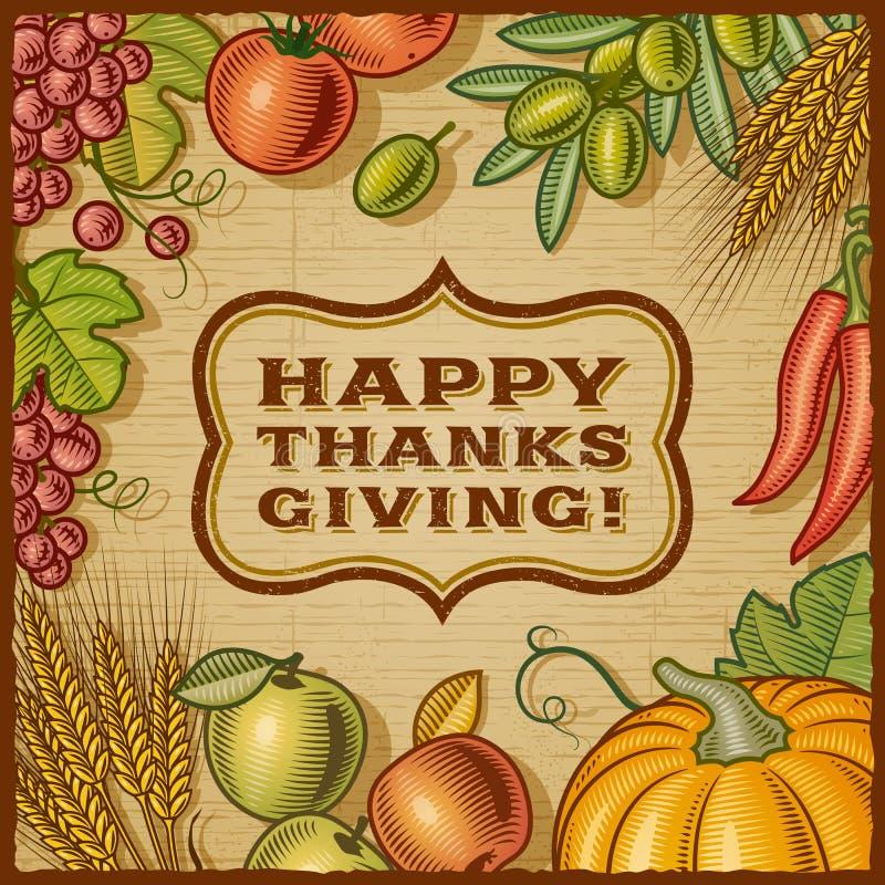 Thanksgiving Retro Card royalty free illustration