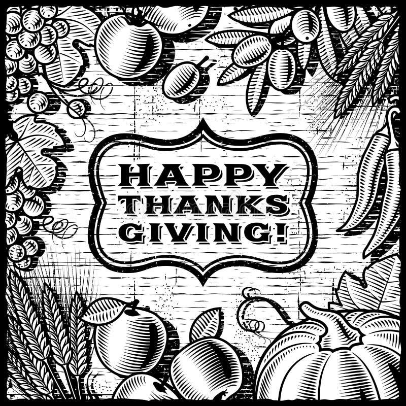 Thanksgiving Retro Card black and white vector illustration