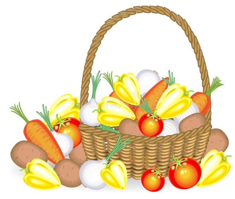 thanksgiving Sammelte eine großzügige Ernte im Korb, Kartoffeln, Karotten, Pfeffer, Tomaten, Zwiebeln Frisches sch?nes stock abbildung