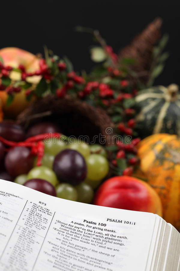 Download Thanksgiving Scripture And Cornucopia Stock Image - Image of page, bible: 16363111
