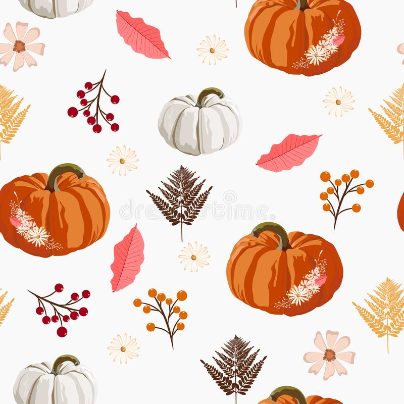 Thanksgiving seamless background - leaves, berries and pumpkin pattern. vector illustration