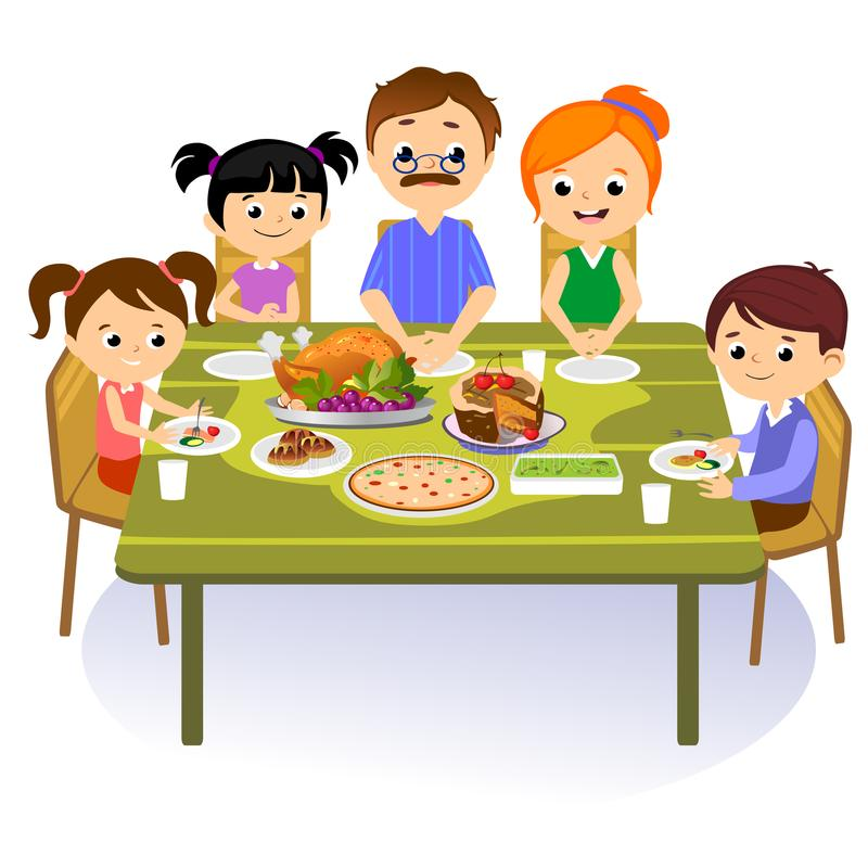 Thanksgiving set, isolated happy family at the dinner table eat turkey drink wine. Mother father with childrens stock images