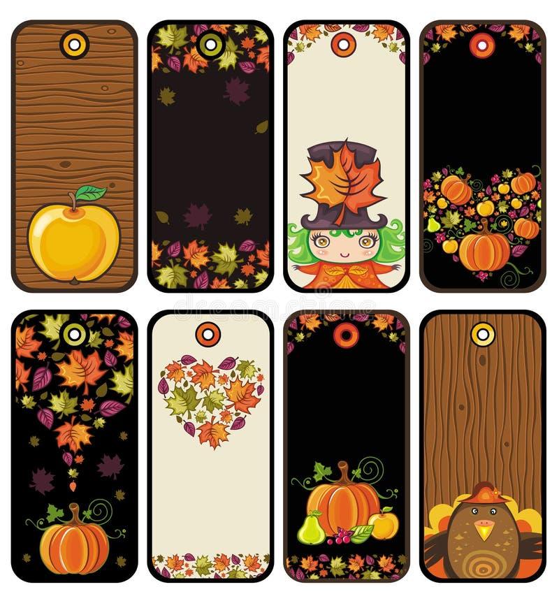 Thanksgiving set of tags i royalty free illustration