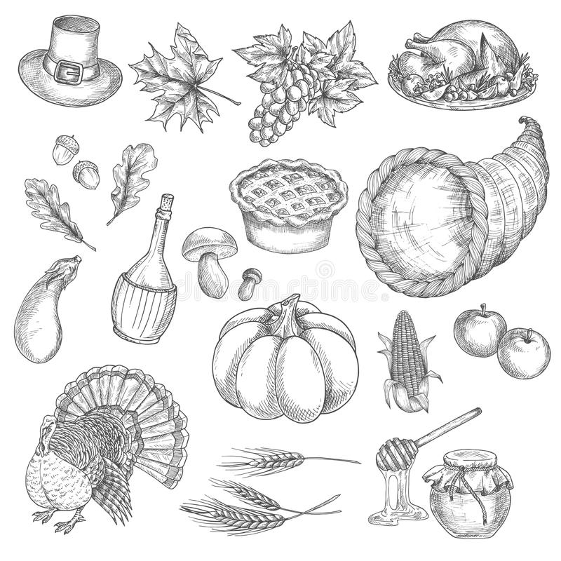 Thanksgiving sketch vector isolated icons vector illustration