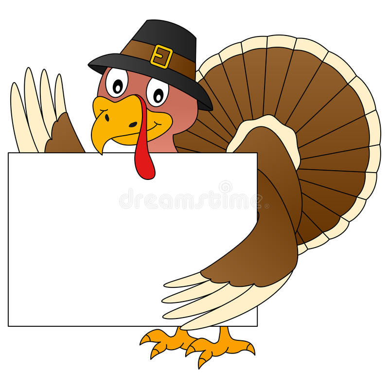 Thanksgiving Turkey and Banner. A funny cartoon Thanksgiving turkey holding a blank banner, isolated on white background. Eps file available vector illustration