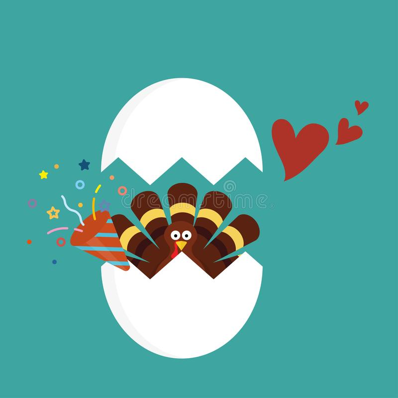 Thanksgiving turkey cartoon in cracked egg with confetti popper and red heart royalty free illustration