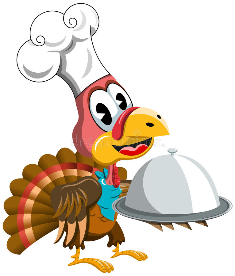 Thanksgiving Turkey Cook Chef Serving Tray stock illustration