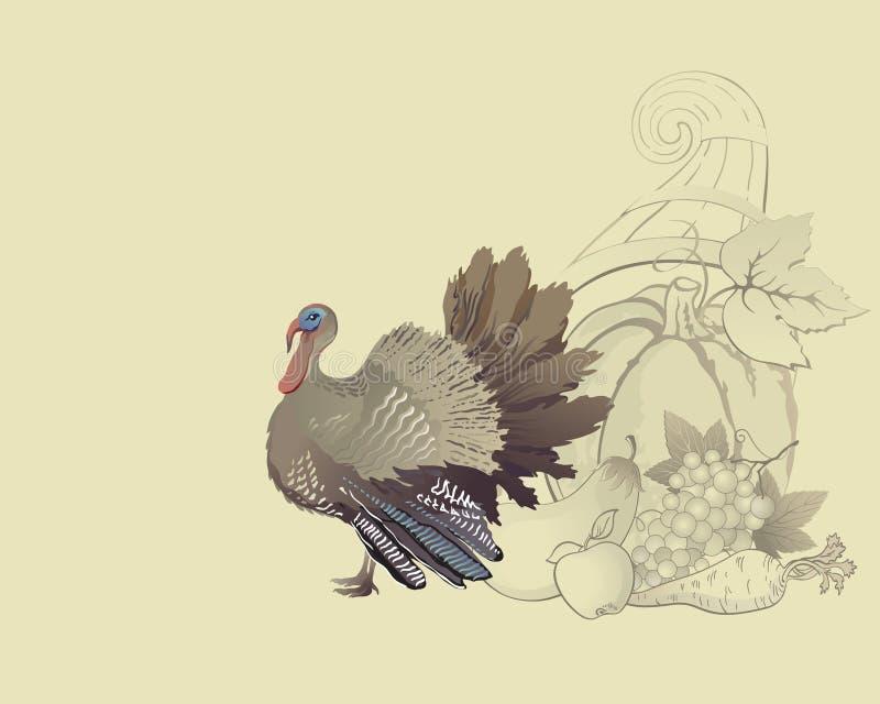 Thanksgiving turkey and cornucopia. Thanksgiving autumn turkey and cornucopia with foods