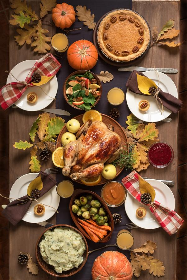 Thanksgiving Turkey Dinner with All the Sides royalty free stock image