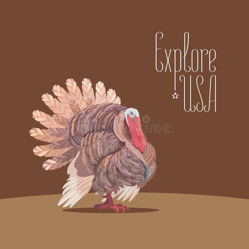 Thanksgiving turkey for travel to USA concept vector illustration royalty free illustration