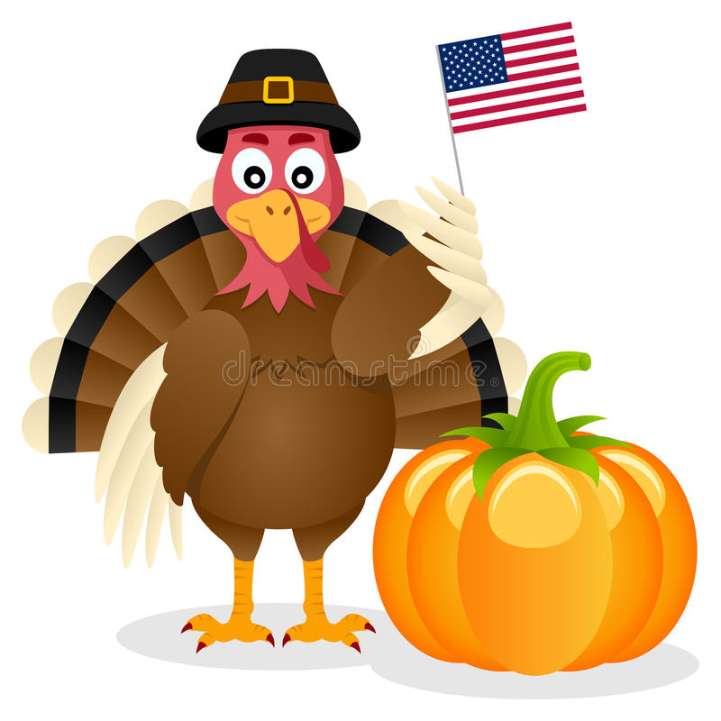 Thanksgiving Turkey USA Flag & Pumpkin. A smiling turkey character holding an American flag with a pumpkin, isolated on white background. Useful for Happy royalty free illustration