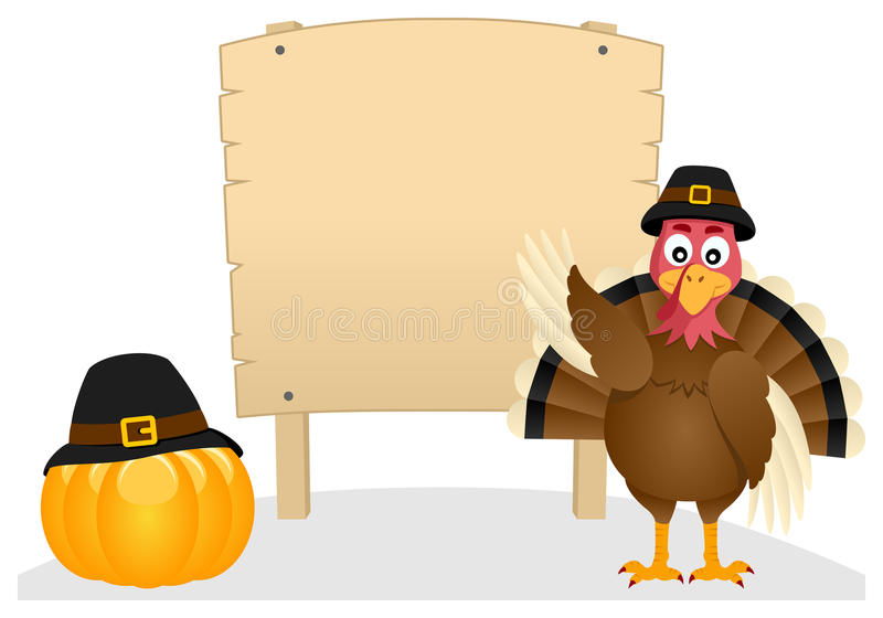 Thanksgiving Turkey and Wooden Banner. A cartoon Thanksgiving Day turkey character with blank wooden banner and a pumpkin, isolated on white background. Eps file royalty free illustration