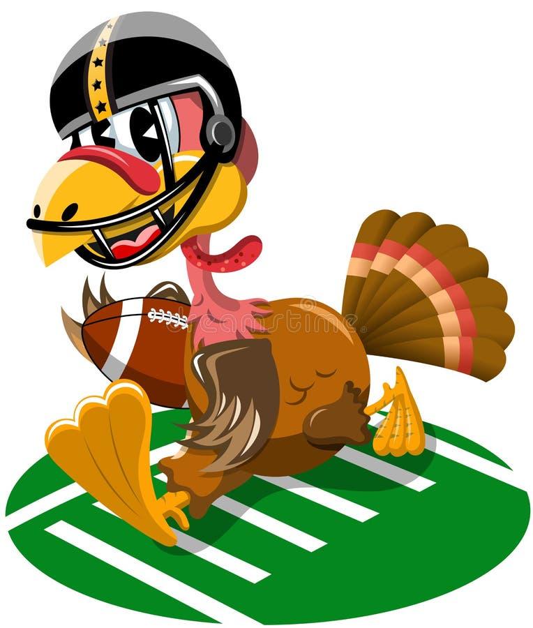 Thanksgiving Turquie jouant le fonctionnement de football américain illustration de vecteur