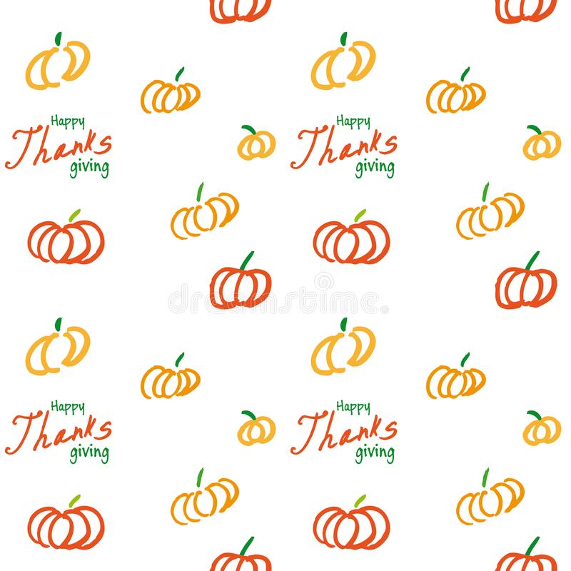 Thanksgiving vector ink seamless background stock illustration