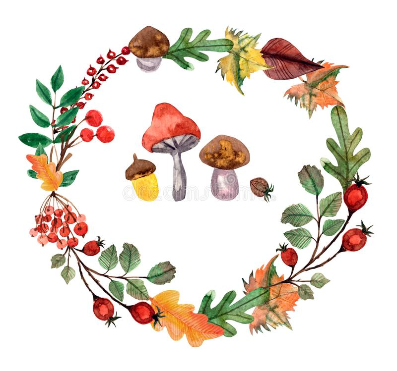 Thanksgiving watercolor illustration. Wreath, garland, circle of autumn flowers, herbs and leaves stock illustration
