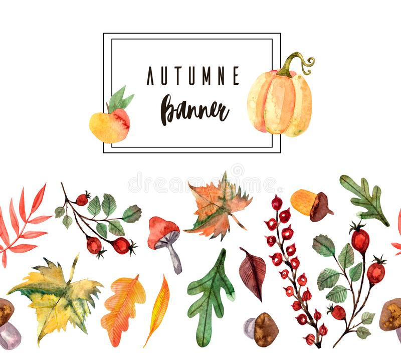 Thanksgiving watercolor illustration. Wreath, garland, circle of autumn flowers, herbs and leaves vector illustration