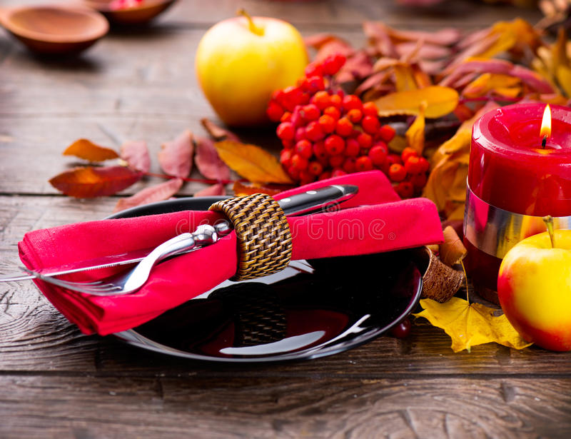 Thanksgiving wooden table served stock photography
