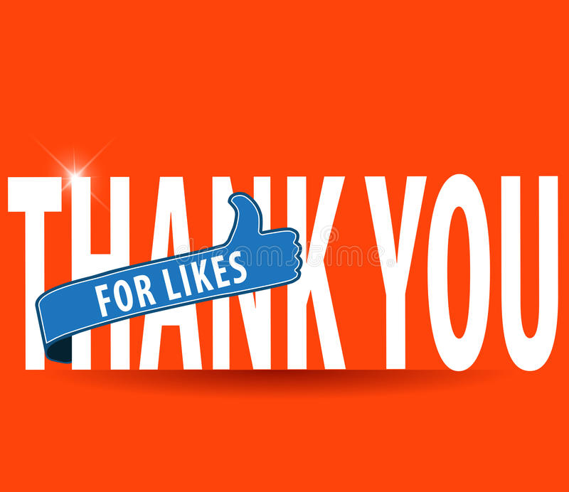 Thankyou for likes, flat typography with thumbs up sign vector illustration