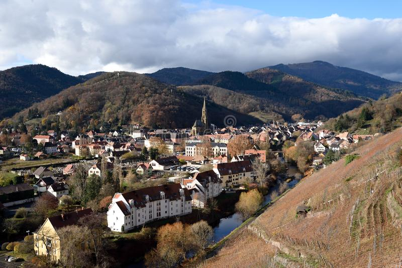 Thann. View from vineyard. Thann is the town situated at the foot of the Vosges mountains, at the mouth of the valley of the Thur River. France stock images