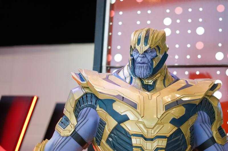 Thanos in front of the theatre to promote the movie Avengers End Game, movie. Bangkok, Thailand - May 4, 2019 :  A photo of Thanos in front of the theatre to stock photos