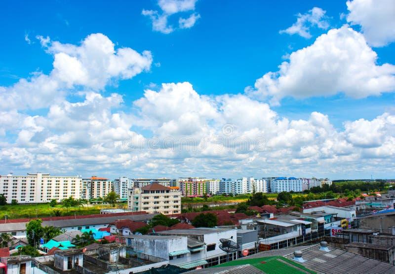 Thanyaburi city. Bright Sky, bright clouds after at thanyaburi city stock images