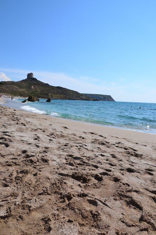 Tharros海滩-撒丁岛,意大利 图库摄影