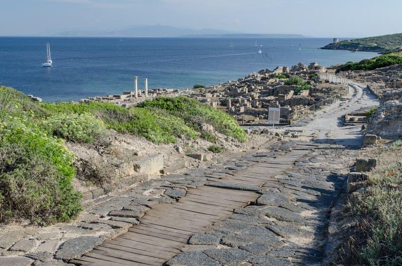 Tharros ruins, Sardinia. Ancient ruins of Tharros city near St. Marco cape, Sardinia stock image