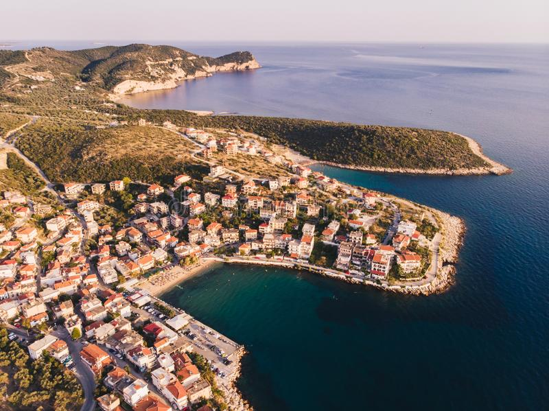 Thasos Island Skala Marion traditional village, harbour and beach as seen at sunset from above royalty free stock image