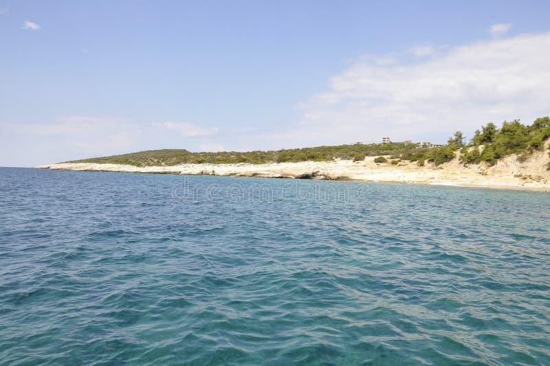 Thassos海岛坚固性海滩在希腊 库存图片