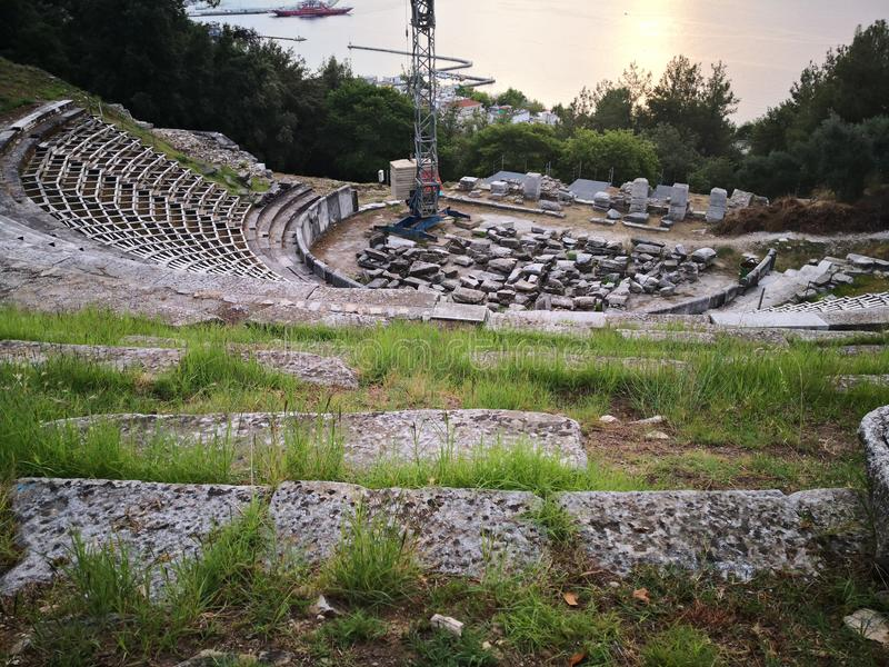 Thassos Ancient Theater. Ancient theater, archaeological site in Limenas. Thassos, Greece royalty free stock image