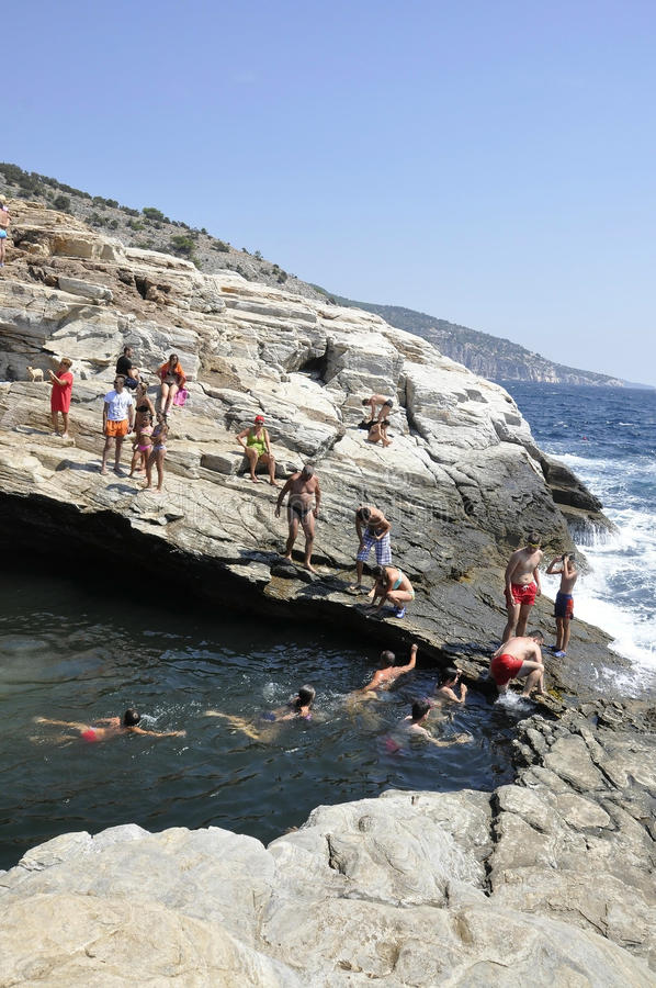 Thassos, August 19th: Giola the Natural Pool from Thassos island in Greece stock images