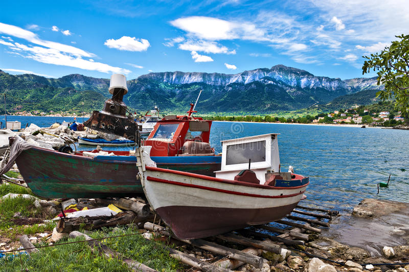 Thassos fishing. Traditional fishing boats waiting for evening on the beautiful greek island of thassos royalty free stock photography