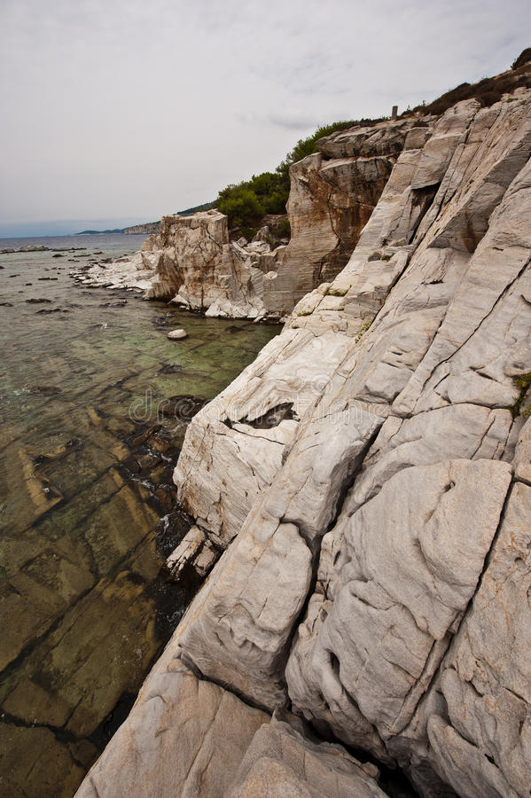 Thassos Greece. Landscape from coast of Thassos Greece royalty free stock photos