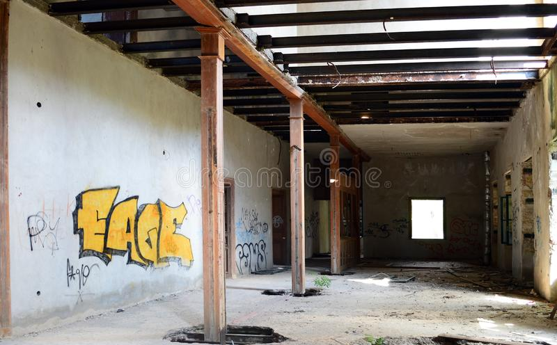Interior of abandoned building remains from an old factory in Metallia royalty free stock images