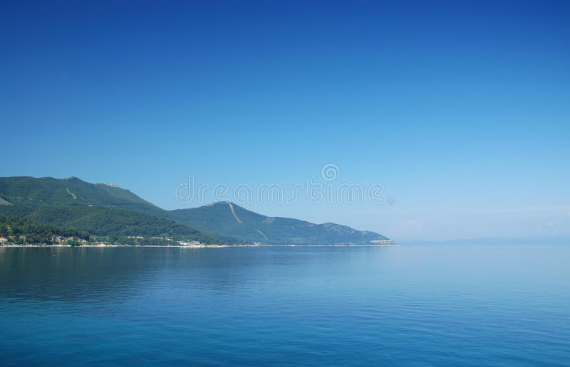 Thassos island. View at the thassos island from the sea stock photography
