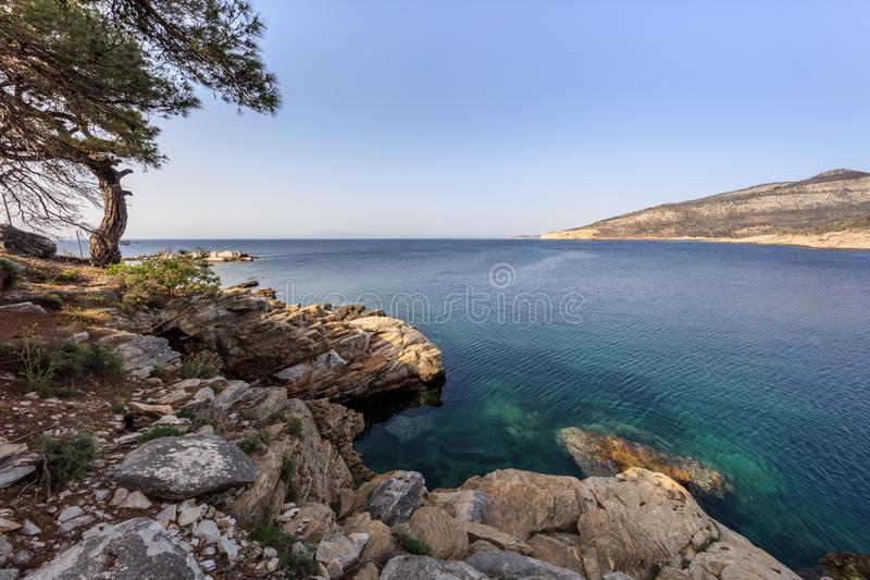 Thassos island, Greece. Thassos island near Aliki village. Macedonia, Greece stock images