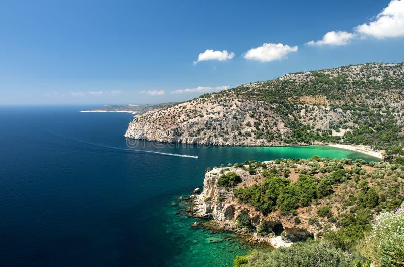 Thassos island. Greece panoramic view stock image