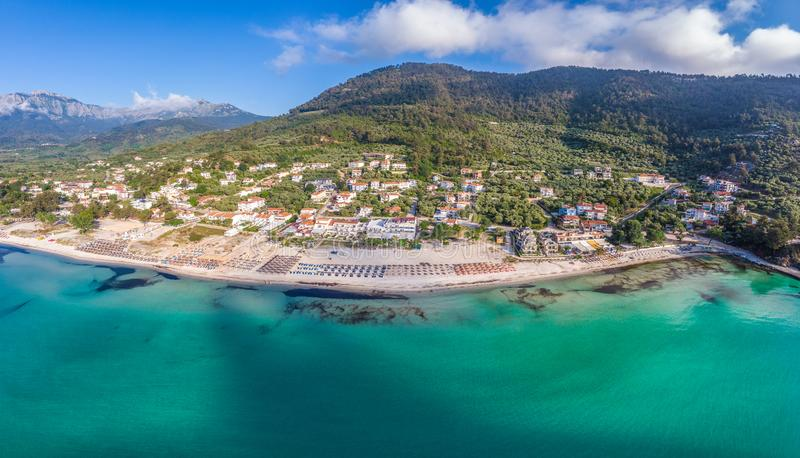 Thassos landscape. Landscape with Amazing Golden Beach and Skala Potamia on Thassos, Aegean Sea, Greece royalty free stock photo