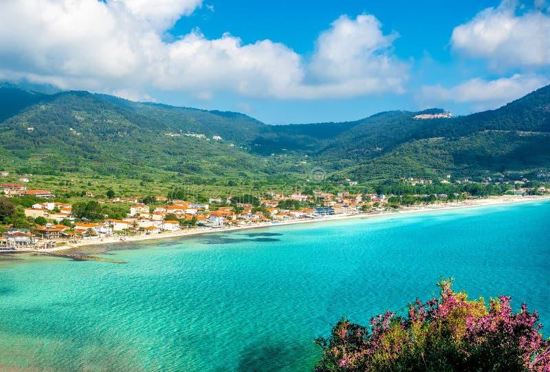 Thassos landscape. Landscape with Skala Potamia and Amazing Golden Beach on Thassos, Aegean Sea, Greece royalty free stock photo