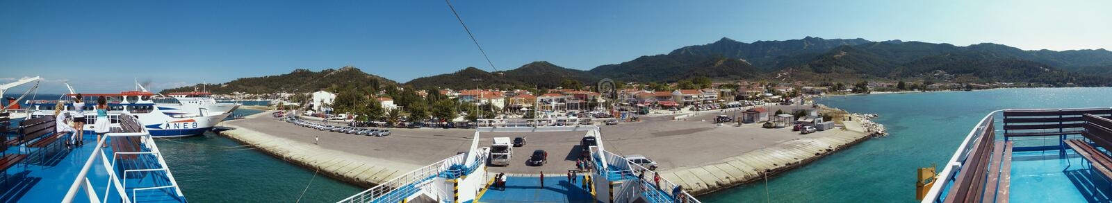 Thassos port. Unidentified people at Limenas port at Thassos, Greece. Port is served by ferry routes to and from Kavala and Keramoti stock images