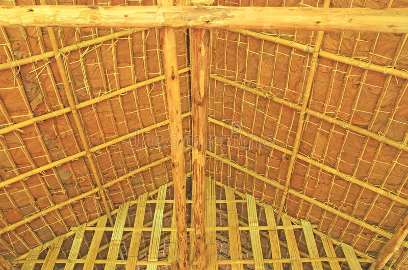 Thatch roof. Roof structure from thatch and wood royalty free stock image
