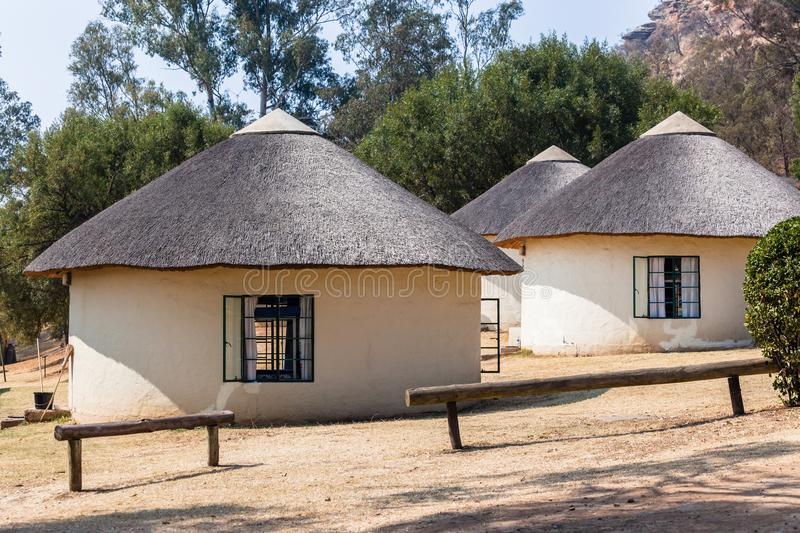 Thatch Round Camping Bungalows. African style thatch grass roofs round bungalows buildings holiday camps in rural mountains royalty free stock photography